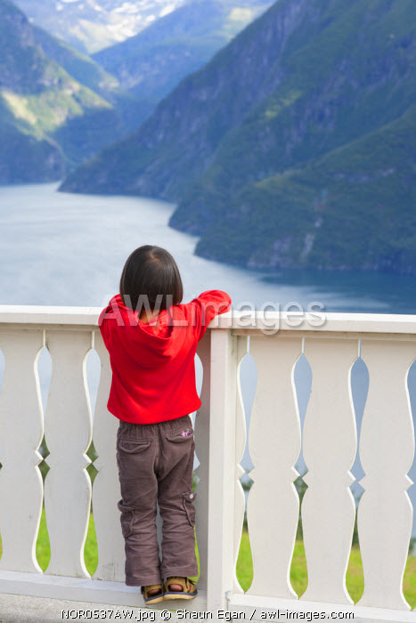 awl-images.com - Norway / Norway, Western Fjords, Norddalsfjord, girl standing on fence looking at fjord (MR)
