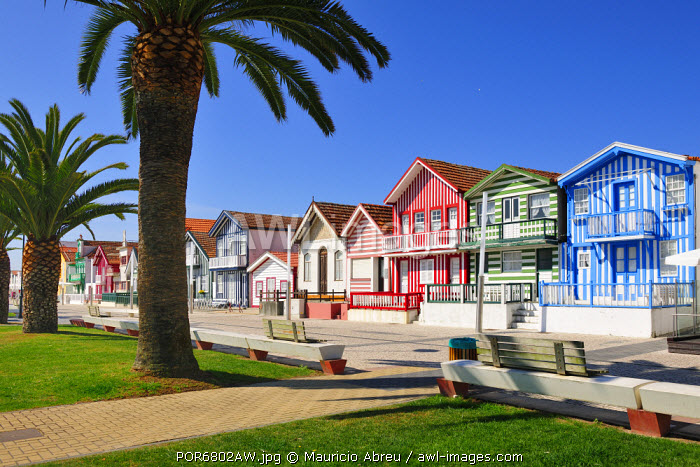 Traditional houses of Costa Nova. Portugal