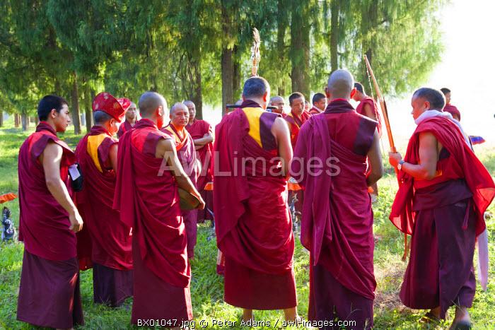 Monks carrying out Buddhist ceremony, Punakha Dzong (monastery), Punakha, Bhutan