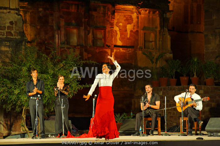 India, Rajasthan, Jodhpur. A Spanish flamenco troupe perform in the former zenana enclosure of Mehrangarh Fort during the Rajasthan International Folk Festival