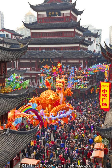 Chinese dragon & Chinese New Year celebrations, Yuyuan Gardens shopping area, Shanghai, China