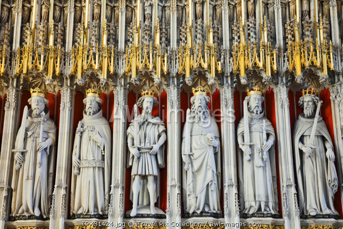 England, Yorkshire, York, York Minster, The Quire Screen depicting The Medieval Kings of England