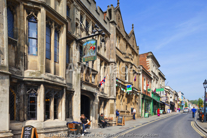 England, Somerset, Glastonbury, The High Street