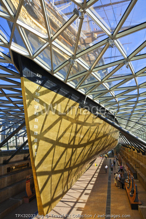 England, London, Greenwich, Cutty Sark, View of Hull from under the Ship
