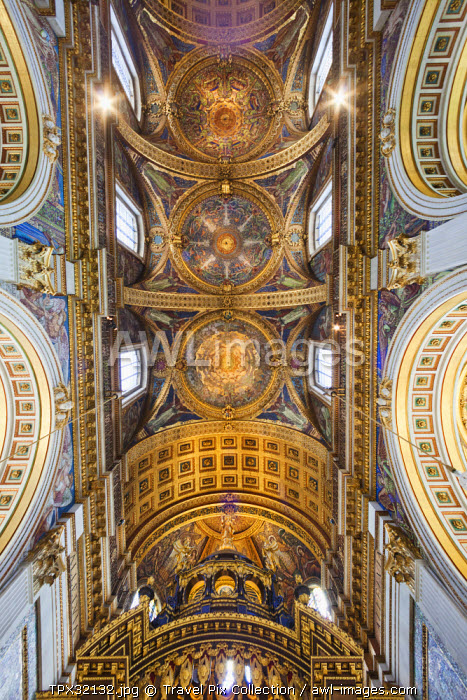 England, London, The City, St Pauls Cathedral, The Quire Ceiling