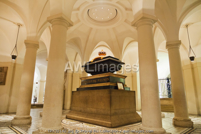 England, London, The City, St Pauls Cathedral, The Crypt, Nelson's Tomb