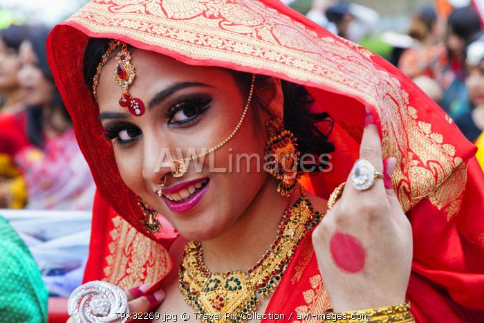 England, London, Banglatown, Bengali New Year Festival, Boishakhi Mela Parade, Girl in Bridal Costume