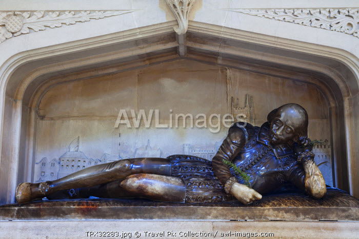 England, London, Southwark, Southwark Cathedral, Shakespeare Memorial Statue
