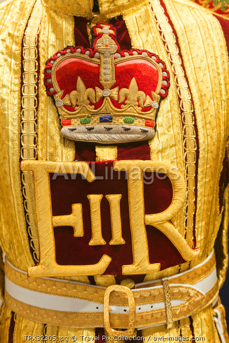 England, London, Whitehall, Household Cavalry Museum, Detail of Band Leaders Uniform