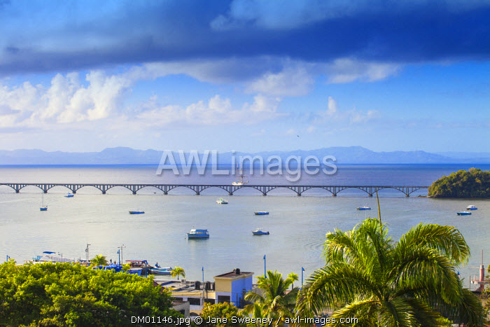 Dominican Republic, Eastern Peninsula De Samana, Samana, View of harbour and Los Puentes - Famous bridge to Nowhere