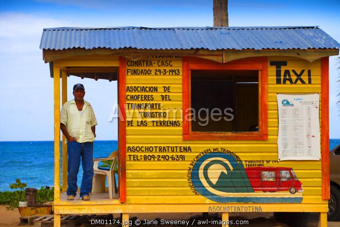 Dominican Republic, Samana Peninsula, Las Terrenas, Taxi hut on beach road