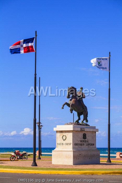 Dominican Republic, Puerto Plata, Statue of General Gregorio Luperon on horse, near  Fort San Felipe