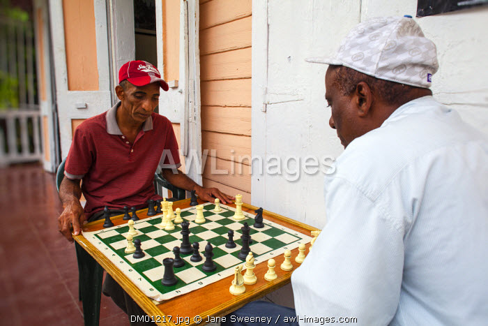 Dominican Republic, Puerto Plata, Men playing a game of chess