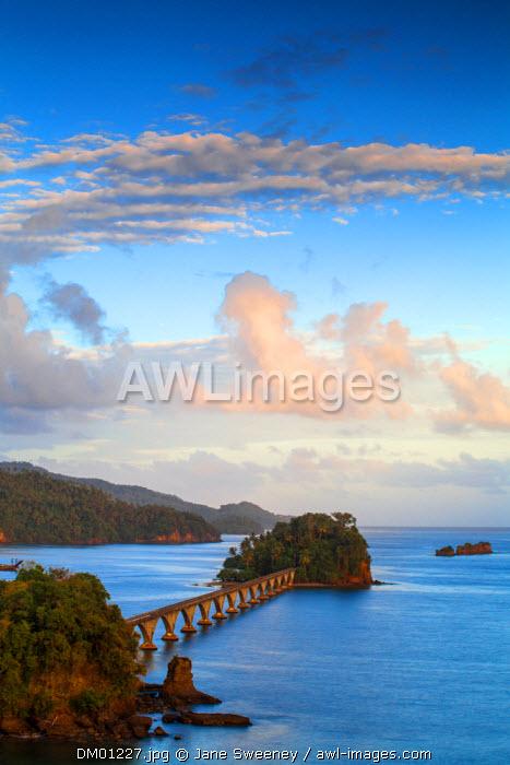 Dominican Republic, Eastern Peninsula De Samana, Semana, View of harbour and Los Puentes - Famous bridge to Nowhere
