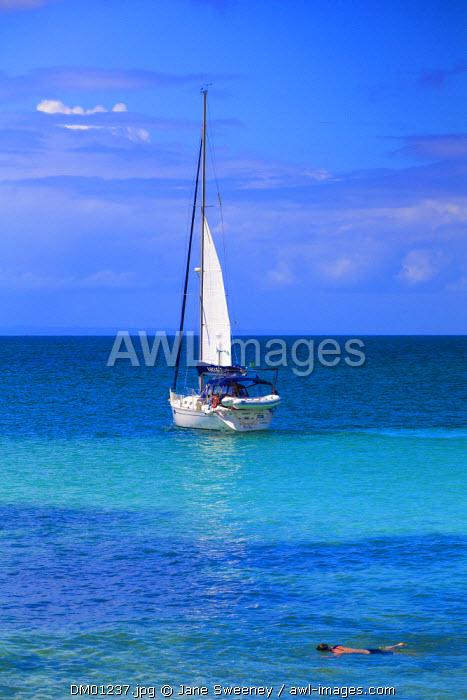 Dominican Republic, Eastern Peninsula De Samana, Samana, Sailboat off Cayo Levantado know as  Bacardi Island