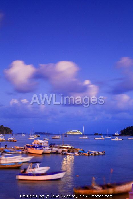 Dominican Republic, Eastern Peninsula De Samana, Samana, View of harbour at twilight