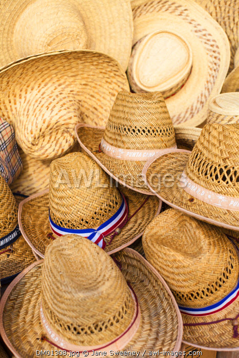 Dominican Republic, Santa Domingo, Colonial zone, Hats for sale in Calle El Conde - a pedestrian shopping street in the center of the Colonial zone