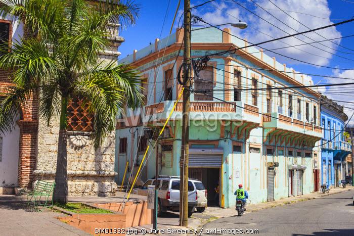 Dominican Republic, Santa Domingo, Colonial zone, Iglesia Santa Barbara and nearby street