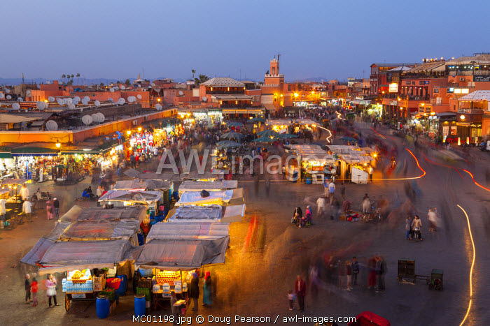 Elevated view over Djemaa el-Fna Square at dusk, Marrakesh, Morocco