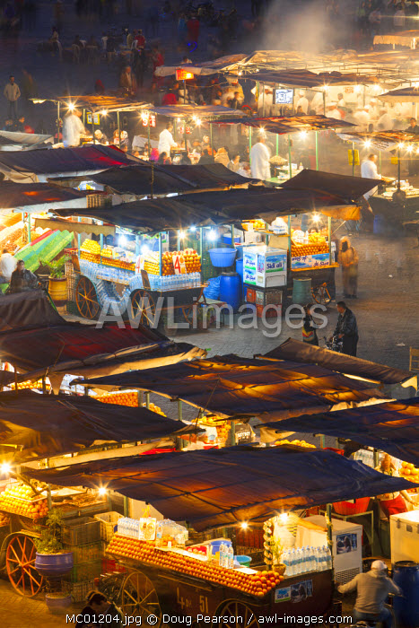 Elevated view over Djemaa el-Fna Square at dusk, Marrakesh, Morocco,