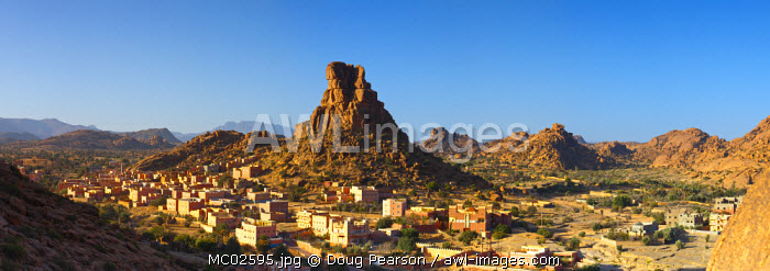 The Berber village of Aguerd Oudad and the rock formation Le Chapeau de Napoleon (Napoleon's Hat), nr. Tafraoute, Anti Atlas, Morocco