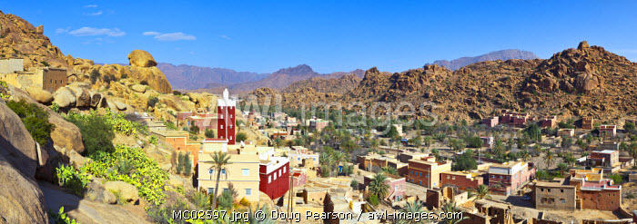 Elevated view over the Red Mosque of Adai, Tafraoute, Anti Atlas, Morocco