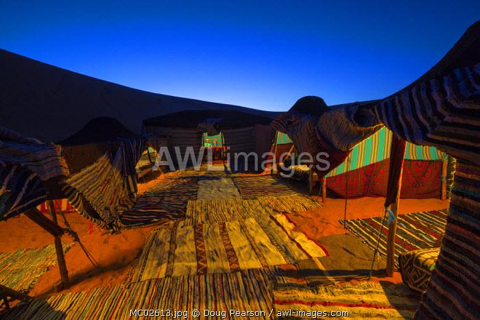 Tent accommodation on camel safari, Sahara Desert, Merzouga, Morocco