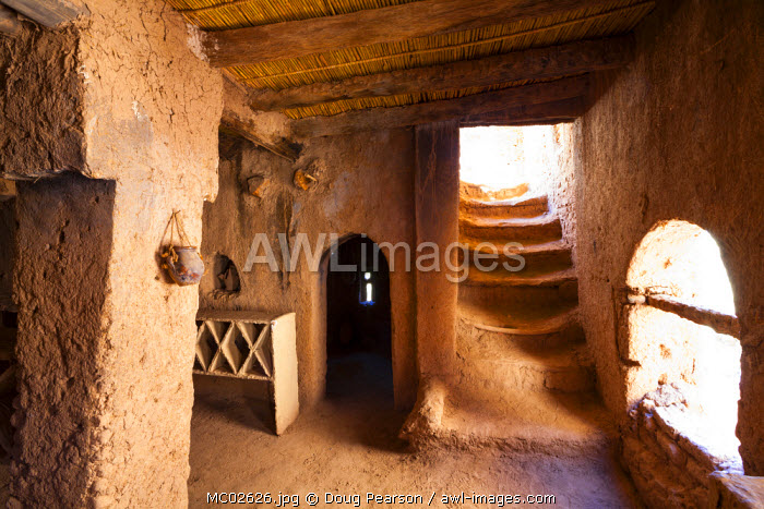 Interior of the 17th century Amerhidl kasbah, Skoura, Morocco
