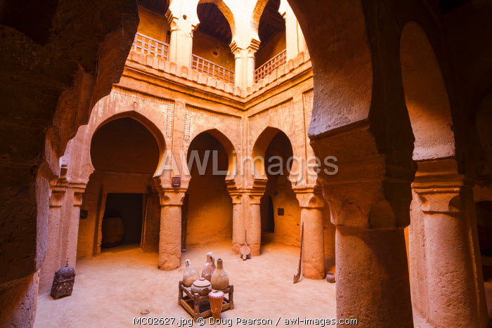 Ornate interior of a magnificent 16th century Kasbah, Timiderte, Morocco