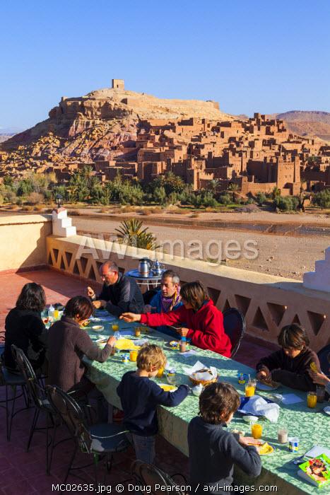 Rooftop breakfast overlooking Ait Benhaddou, Atlas Mountains, Morocco