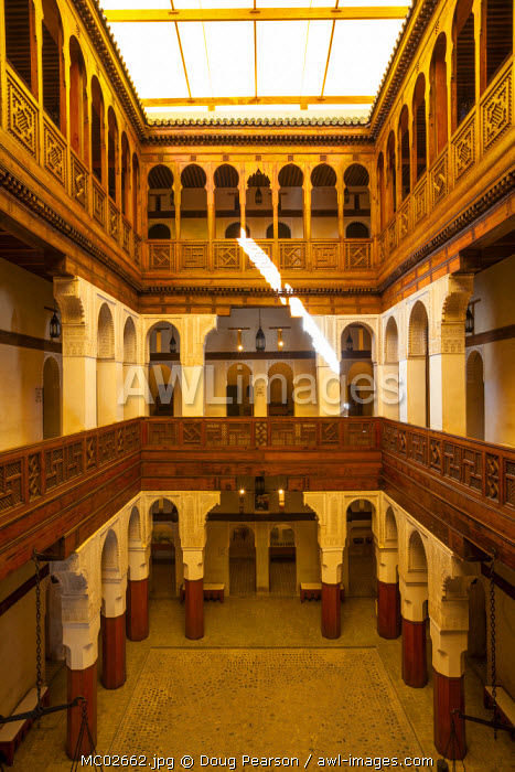 The impressive interior of Fondouk el-Nejjarine, One of the most renouned buildings in Fes, The Medina, Fes, Morocco