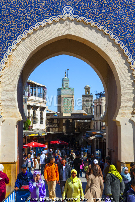 The wonderfully ornate Bab Boujeloud Gate (The Blue Gate), The Medina, Fes, Morocco