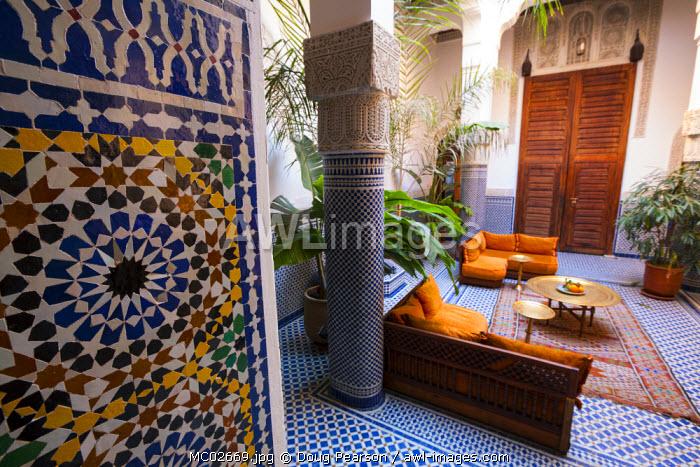 Riad interior, The Medina, Fes, Morocco