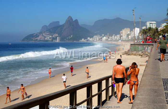 The famous Ipanema Beach in Rio de Janeiro, Brazil