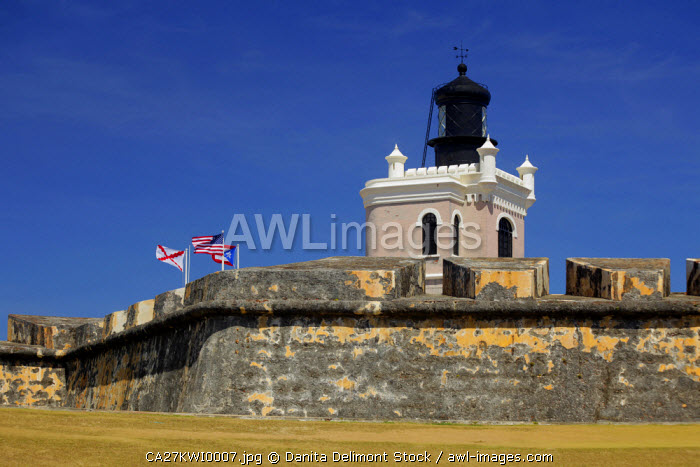 Puerto Rico, San Juan. Lighthouse at El Morro Fort, a UNESCO World Heritage Site.
