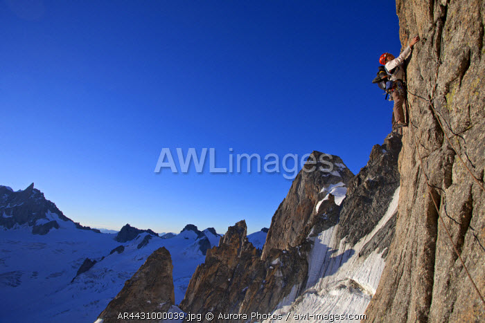 awl-images.com - France / Chamonix, Haute Savoie, France: Climbing The Classic Gervasutti Pillar In The Mont Blanc Massif At Sunrise, Chamonix, France