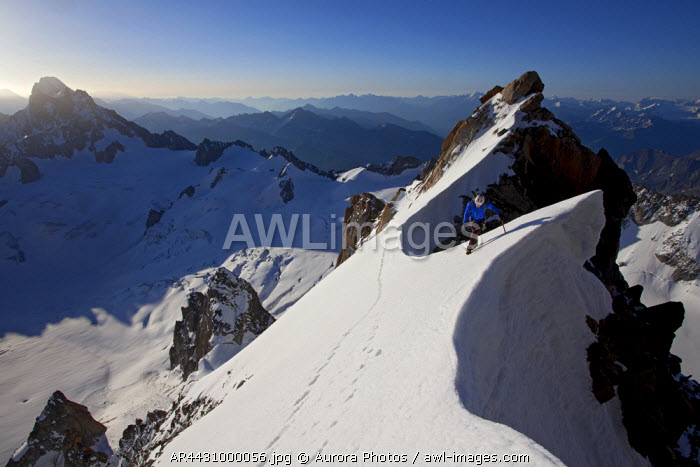 awl-images.com - France / Chamonix, Haute Savoie, France: High Up On The Diables Ridge (12, 000Ft) Shortly After Sunrise. Mont Blanc Du Tacul, Chamonix, France