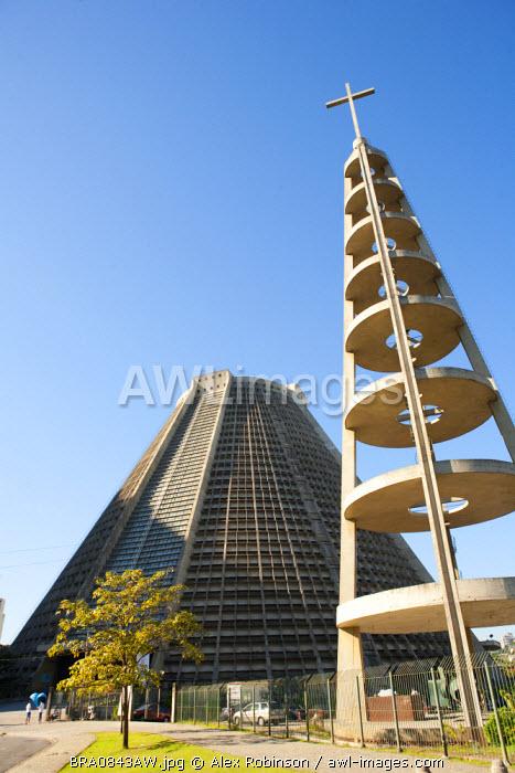 South America, Brazil, Rio de Janeiro, Metropolitan cathedral and adjacent cross by Edgar de Oliveira Fonseca