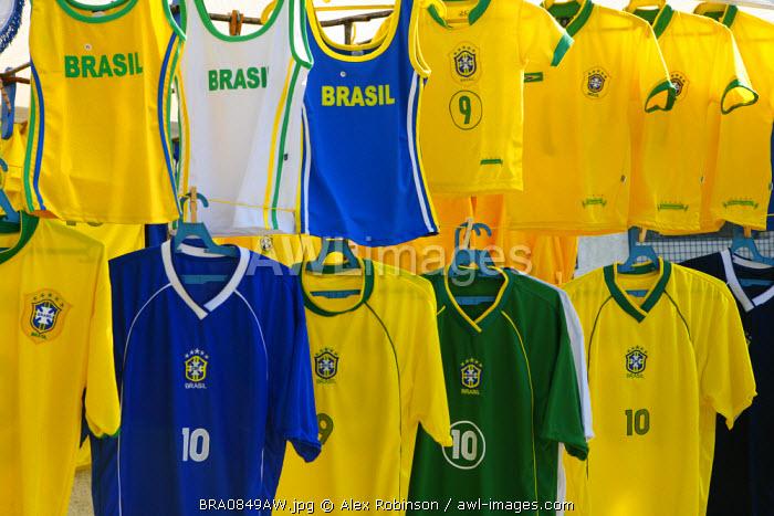South America, Rio de Janeiro, Rio de Janeiro city, football shirts on sale outside the Maracana football stadium