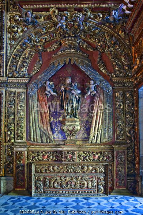 South America, Brazil, Rio de Janeiro state, Rio de Janeiro city, lady chapel in the Benedictine Mosteiro Sao Bento church in the old colonial centre of Rio