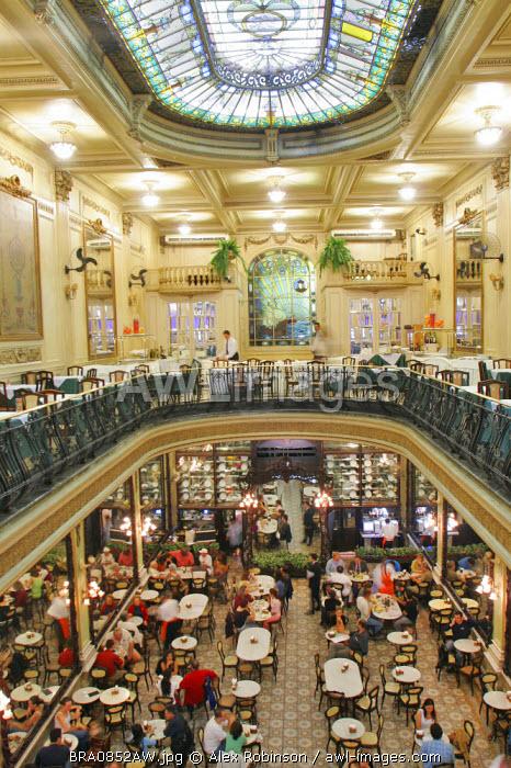 South America, Brazil, Rio de Janeiro, Rio de Janeiro city, the art nouveau Colombo Cafe, Confeiteria Colombo, in the city centre