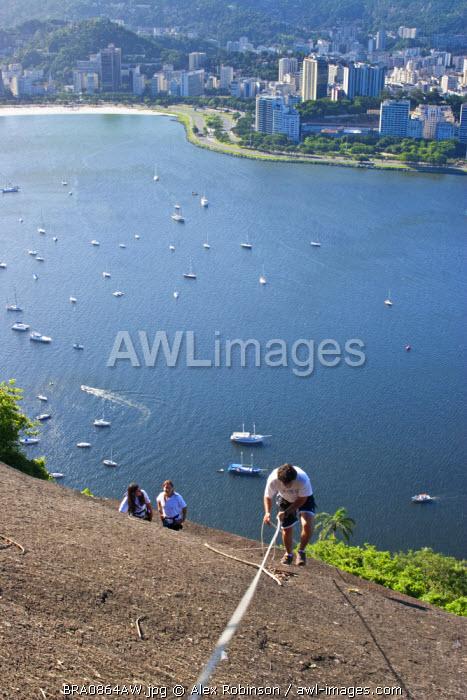 South America, Brazil, Rio de Janeiro, rock climbers on the flanks of the Sugar Loaf (Pao de Acucar) and the Morro da Urca with Botafogo Bay behind them
