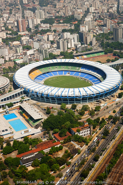 South America, Brazil, Rio de Janeiro state, Rio de Janeiro city, Maracana and Maracanazinho stadia with the Olympic sized open air swimming and diving pools in the foreground