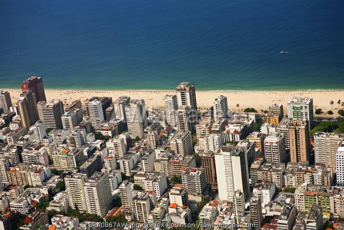 South America, Rio de Janeiro, Rio de Janeiro city, Ipanema, Ipanema beachand neighbourhood from the air