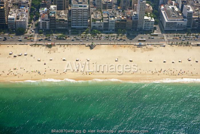 South America, Rio de Janeiro, Rio de Janeiro city, Ipanema, Ipanema beach, Avenida Vieira Souto and neighbourhood from the air