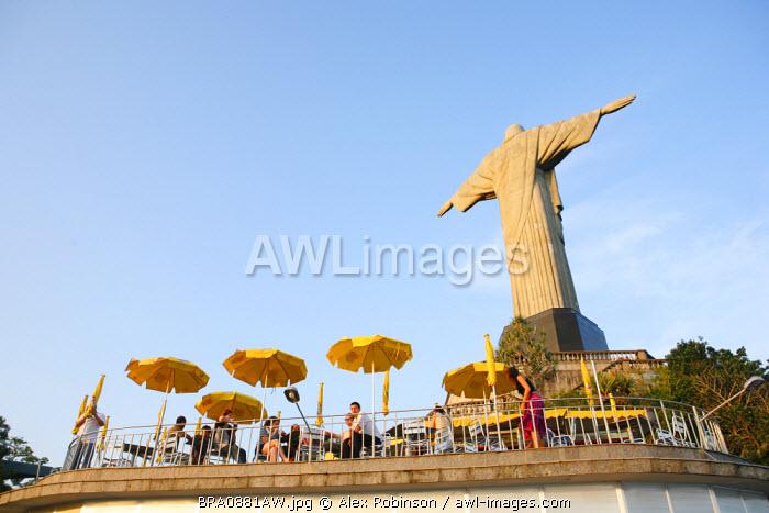 South America, Brazil, Rio de Janeiro State, Rio de Janeiro city, Corcovado, The cafe behind the art deco Christ statue, Cristo Redentor, on Corcovado