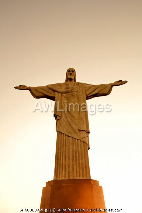South America, Brazil, Rio de Janeiro State, Rio de Janeiro city, Corcovado, The art deco Christ statue, Cristo Redentor, on Corcovado