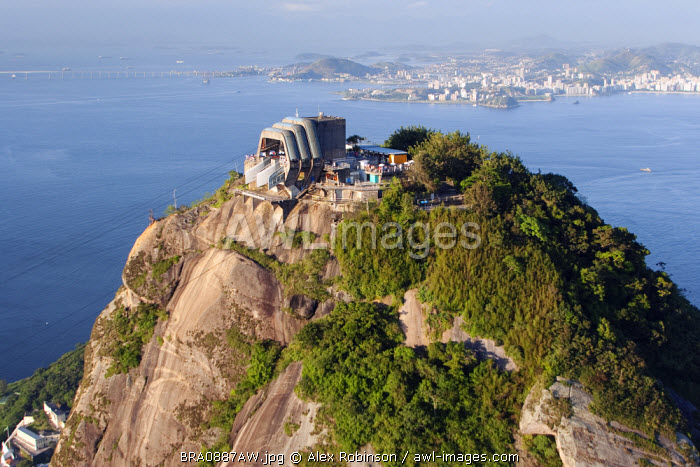 South America, Brazil, Rio de Janeiro State, Rio de Janeiro city, the cable car station on the summit of the Sugar Loaf hill with Guanabara bay behind