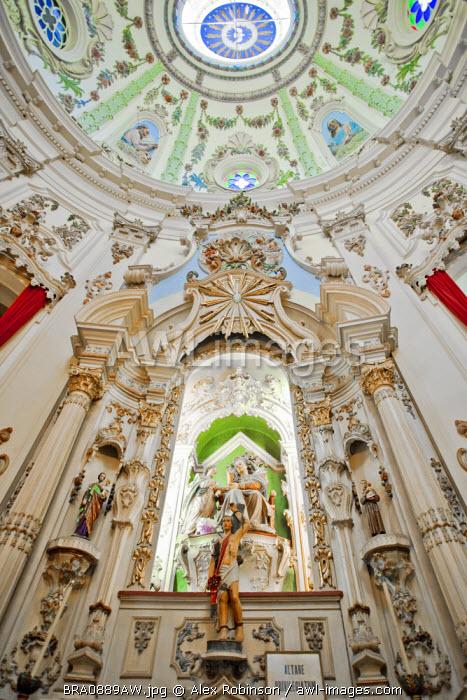 Brazil, Rio de Janeiro state, Rio de Janeiro city, baroque interior of the Nossa Senhora da Lapa church in the city centre showing carvings by Antonio de Padua e Castro and Antonio Alves Meira