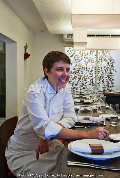 South America, Rio de Janeiro, Rio de Janeiro city, multi-award winning Brazilian chef Roberta Sudbrack in her restaurant in the Jardim Botanico neighbourhood in Rio
